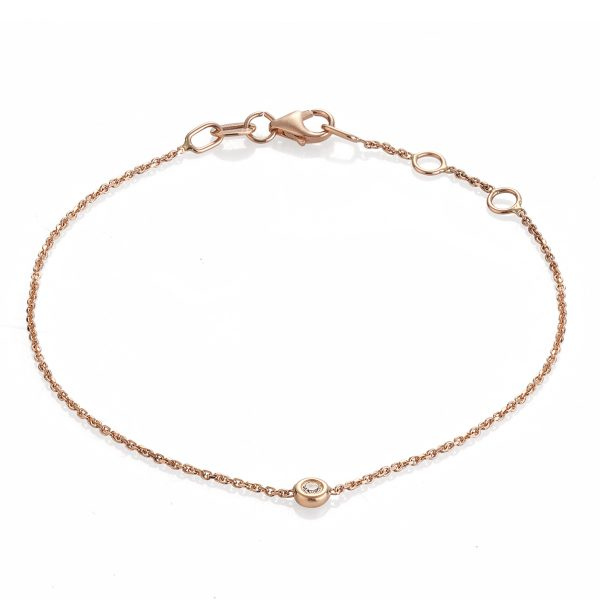 "Гривна с диамант ""Paris"" от 18к розово злато 0,03 крт"