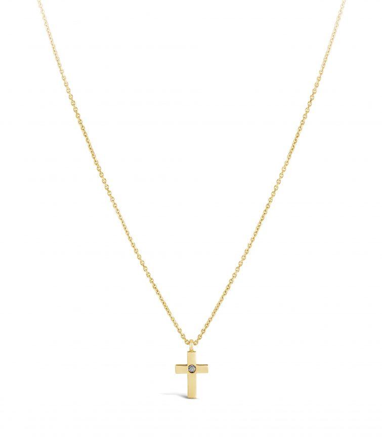 Малък кръст с бял диамант, верижка от жълто злато 18 карата