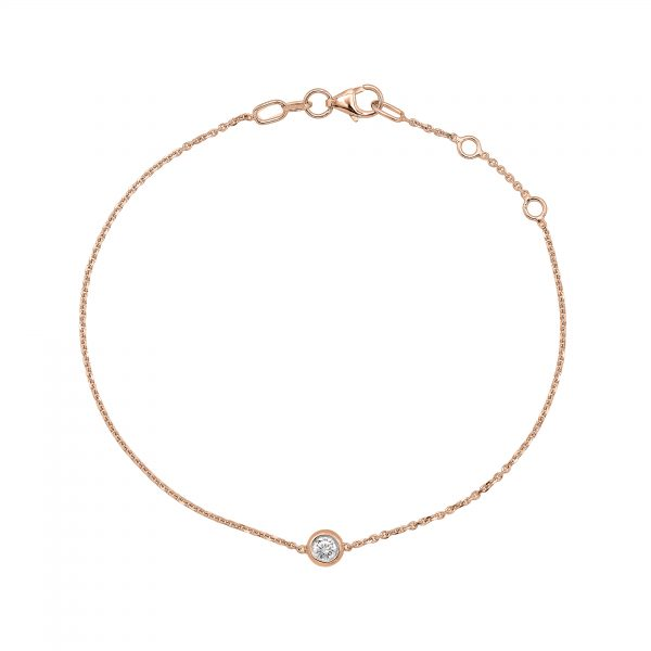 "Гривна с диамант ""Paris"" от 18к розово злато 0,07 крт"