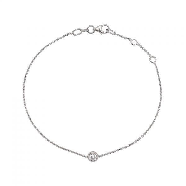 """Гривна с диамант """"Paris"""" от 18к бяло злато 0,07 крт"""