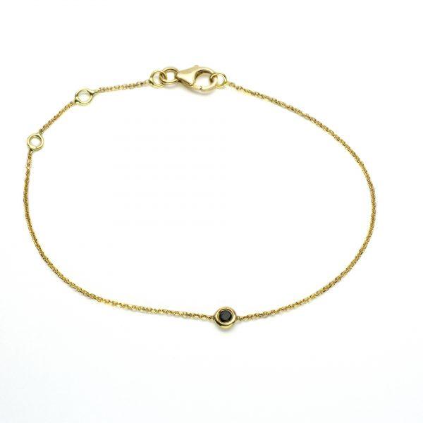 """Гривна """"Paris"""" от 18к злато с черен диамант"""