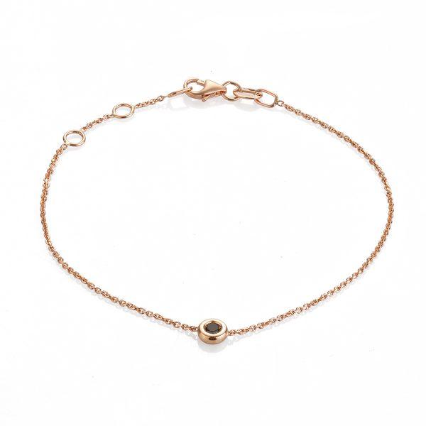 """Гривна """"Paris"""" от 18к розово злато с черен диамант"""