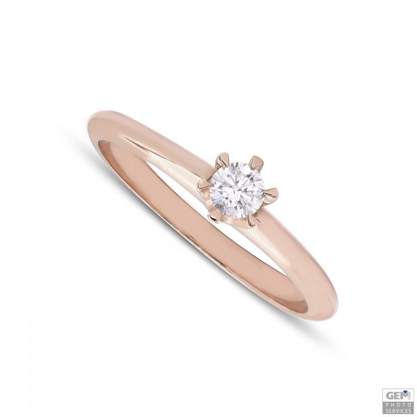 Класически годежен пръстен с диамант 0,30 крт от 18к розово злато