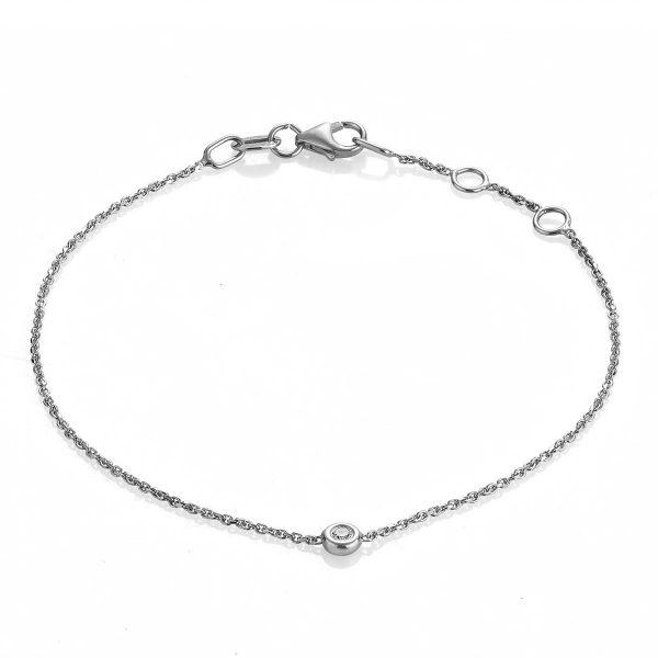"""Гривна с диамант """"Paris"""" от 18к бяло злато 0,03 крт"""