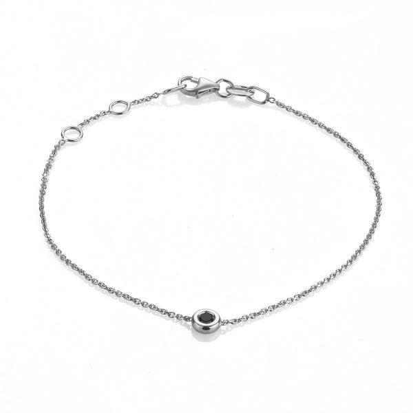 """Гривна """"Paris"""" от 18к бяло злато с черен диамант"""